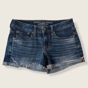 American Eagle Blue Distressed Shortie Jean Shorts - Size 2